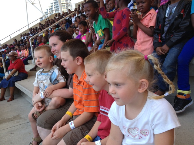 At the dolphin show--lots of Durban school classes around us!