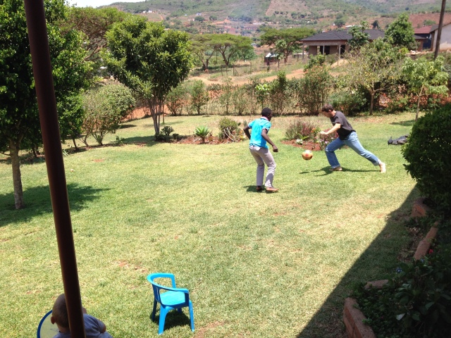 Playing soccer with church members the day we got back.